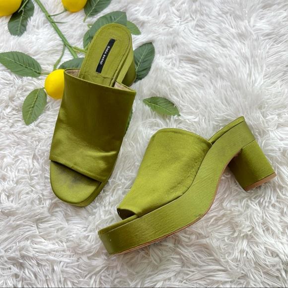 Zara green platform chunky heel slip on shoes Y2K